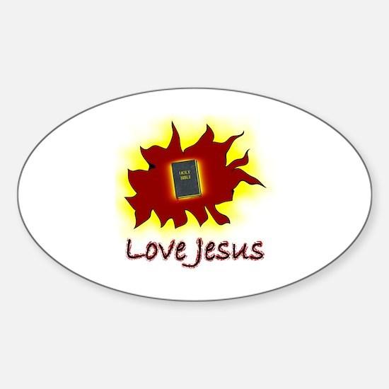 Love Jesus Sticker (Oval)