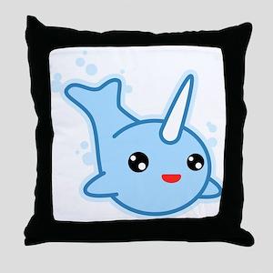 Narwhal Kawaii Throw Pillow