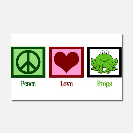 Peace Love Frogs Car Magnet 20 x 12