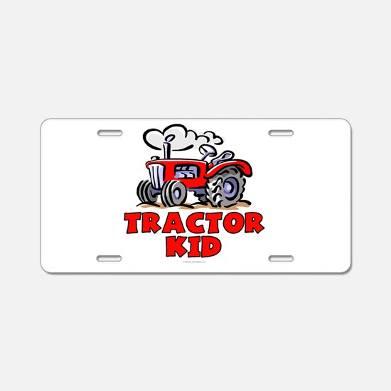 Red Tractor Kid Aluminum License Plate