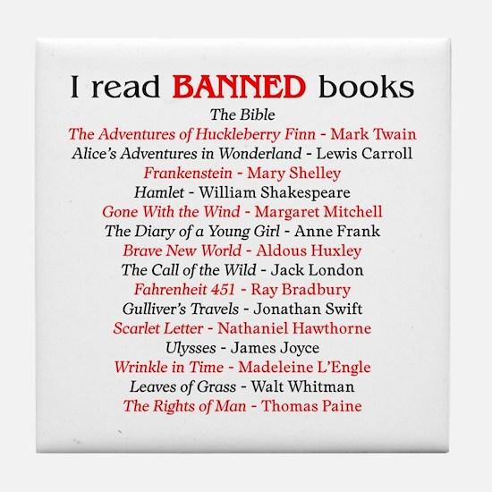 Cute I read banned books Tile Coaster