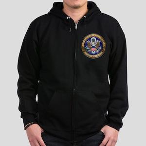 USCG Eagle & Anchors Zip Hoodie (dark)