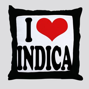 I Love Indica Throw Pillow