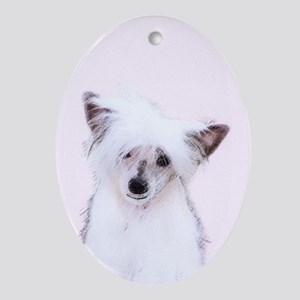 Chinese Crested (Powderpuff) Oval Ornament