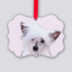 Chinese Crested (Powderpuff) Picture Ornament