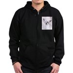 Chinese Crested (Powderpuff) Zip Hoodie (dark)