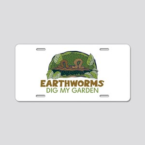Garden Earthworms Aluminum License Plate