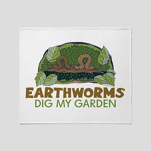 Garden Earthworms Throw Blanket