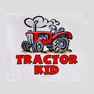 Red Tractor Kid Throw Blanket