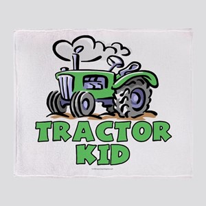 Green Tractor Kid Throw Blanket