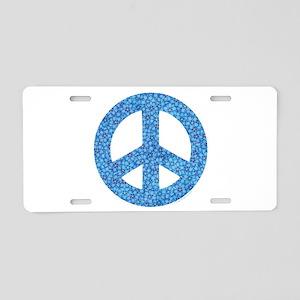 Flower Peace Sign Aluminum License Plate