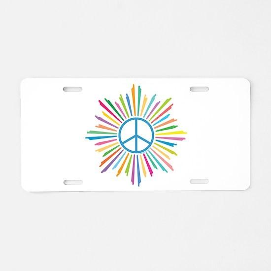Peace Symbol Star Aluminum License Plate