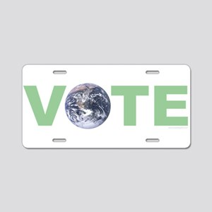 Vote Green Aluminum License Plate