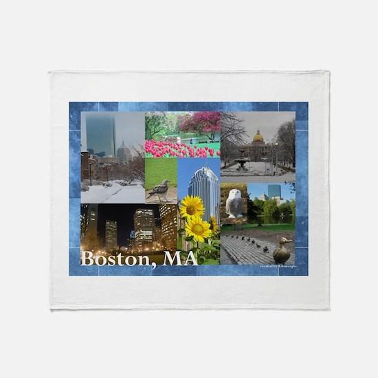 Boston, MA Photo Collage Throw Blanket