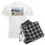 Pink Sandy Beach in Bermuda b Men's Light Pajamas