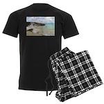Pink Sandy Beach in Bermuda b Men's Dark Pajamas