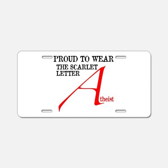 Scarlet Letter Atheist Aluminum License Plate