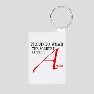 Scarlet Letter Atheist Aluminum Photo Keychain