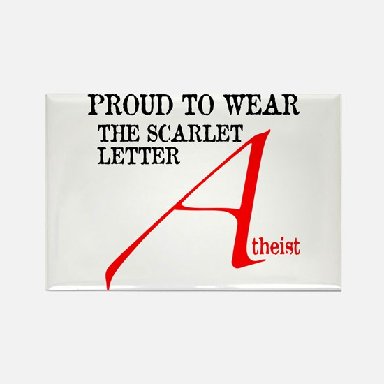 Scarlet Letter Atheist Rectangle Magnet