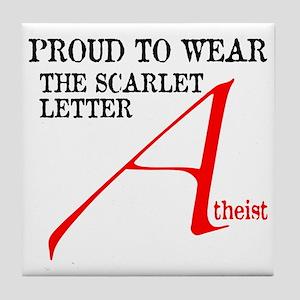 Scarlet Letter Atheist Tile Coaster