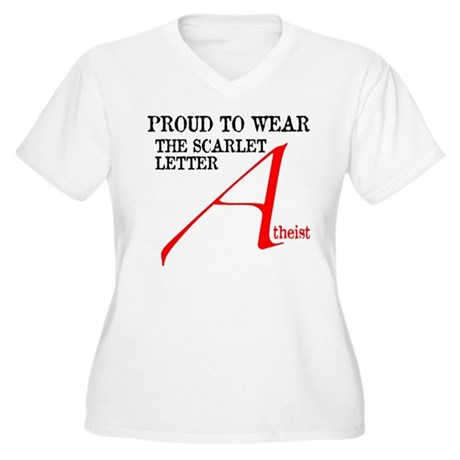Scarlet Letter Atheist Women's Plus Size V-Neck T-