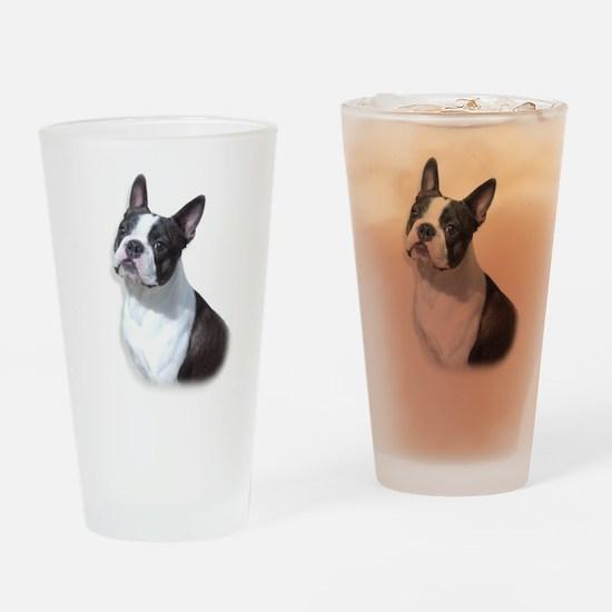 Boston Terrier Head Study Drinking Glass