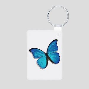 Blue Morpho Butterfly Aluminum Photo Keychain