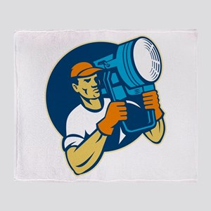 film lighting crew Throw Blanket