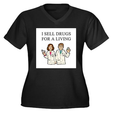 pharmacist Women's Plus Size V-Neck Dark T-Shirt