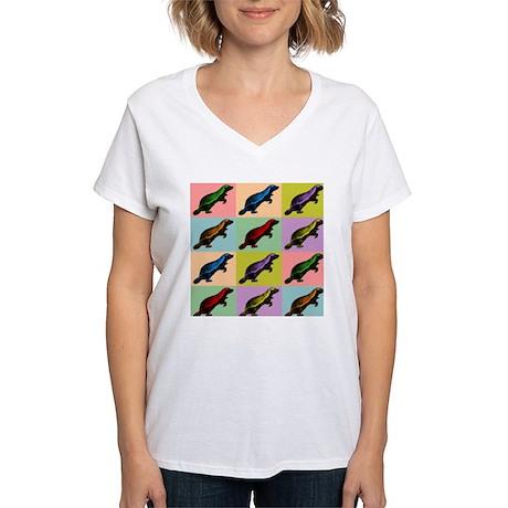 Honey Badger Pop Art Women's V-Neck T-Shirt
