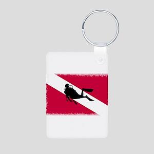 Scuba Diving Flag Aluminum Photo Keychain