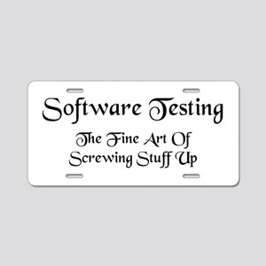 Software Testing Aluminum License Plate