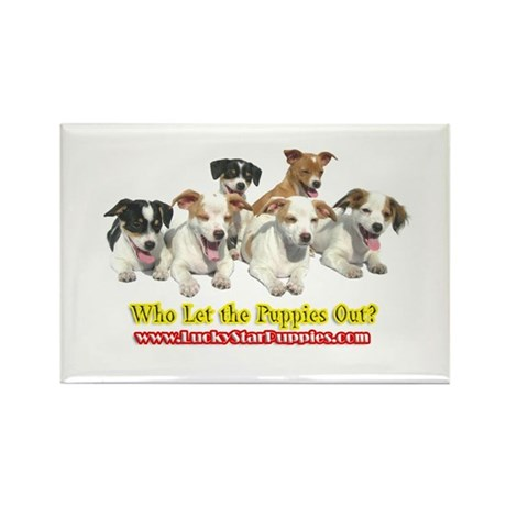 Who Let the Puppies Out 4A Rectangle Magnet (100 p