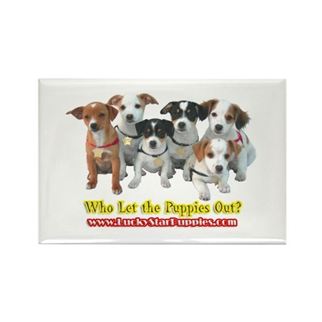 Who Let the Puppies Out 5A Rectangle Magnet (10 pa