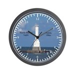 Huron Harbor Light Wall Clock