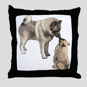 Norwegian Elkhound mother Throw Pillow