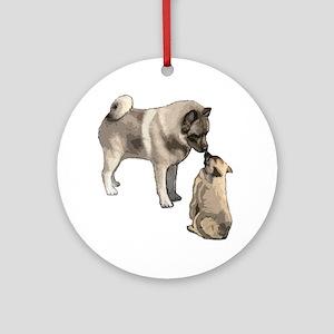 Norwegian Elkhound mother Ornament (Round)