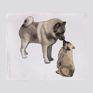 Norwegian Elkhound mother Throw Blanket