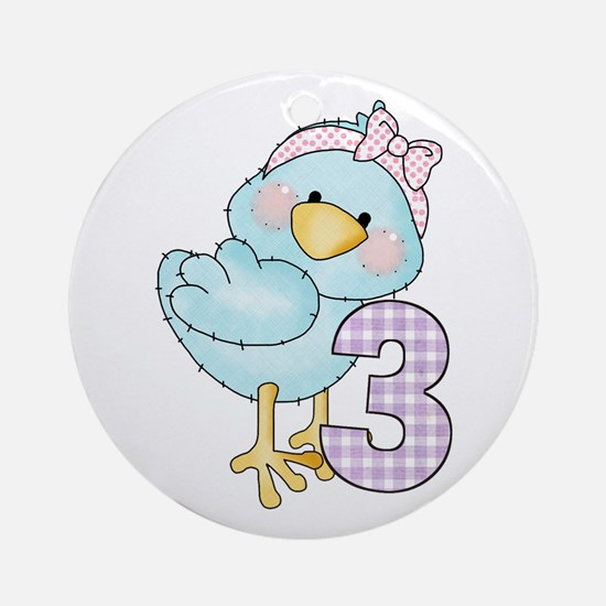 3rd Birthday Bird Ornament (Round)