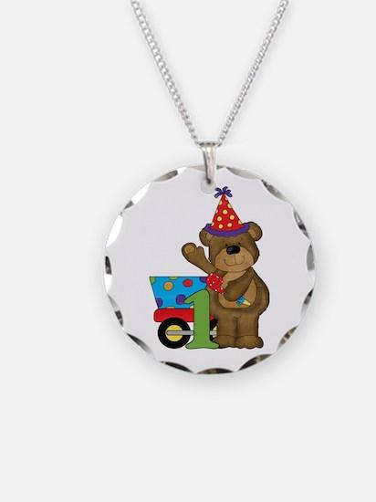 1st Birthday Bear Necklace Circle Charm