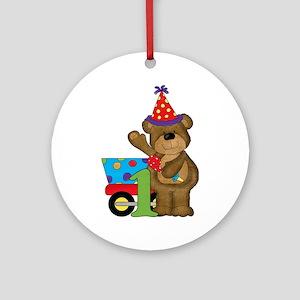 1st Birthday Bear Ornament (Round)