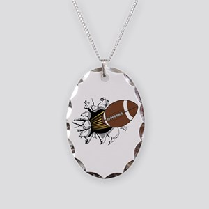 Football Burster Necklace Oval Charm