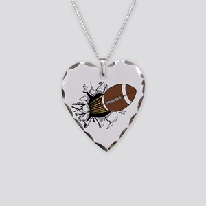 Football Burster Necklace Heart Charm