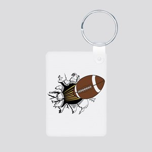Football Burster Aluminum Photo Keychain