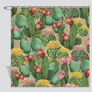 Assorted Blooming Cactus Plants Shower Curtain