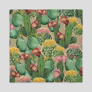 Assorted Blooming Cactus Plants Queen Duvet