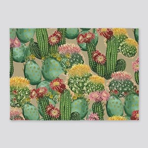 Assorted Blooming Cactus Plants 5'x7'Area Rug