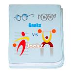Geeks vs. Jocks I baby blanket