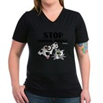 Stop Animal Abuse - Women's V-Neck Dark T-Shirt