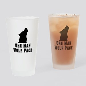 One Man Wolf Pack Drinking Glass